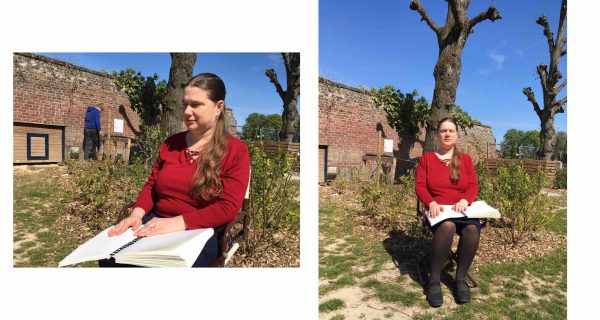 Two photos of Loredana reading a braille book. She is wearing a red t-shirt and and black skirt and she is enjoying the reading in the backyard