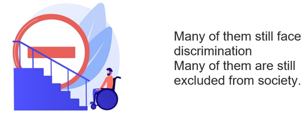 Many of them still face discrimination Many of them are still excluded from society.