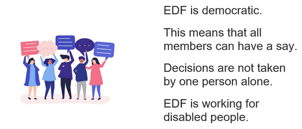 EDF is democratic. This means that all members can have a say. Decisions are not taken by one person alone. EDF is working for disabled people.