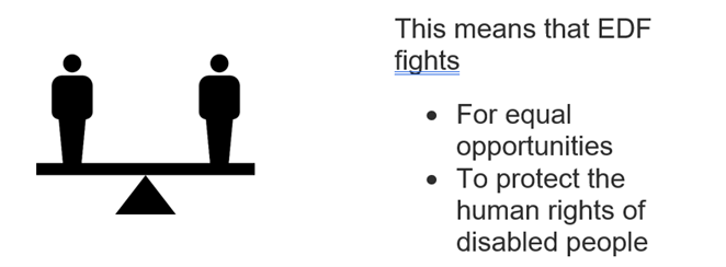 This means that EDF fights • For equal opportunities • To protect the human rights of disabled people