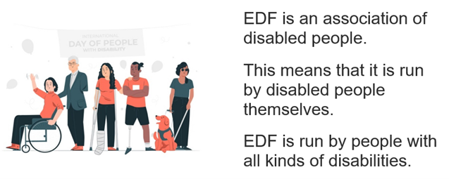 EDF is an association of disabled people. This means that it is run by disabled people themselves. EDF is run by people with all kinds of disabilities.