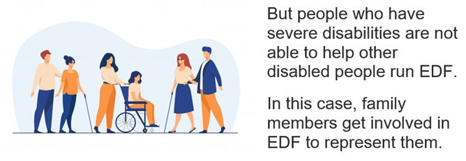 But people who have severe disabilities are not able to help other disabled people run EDF. In this case, family members get involved in EDF to represent them.