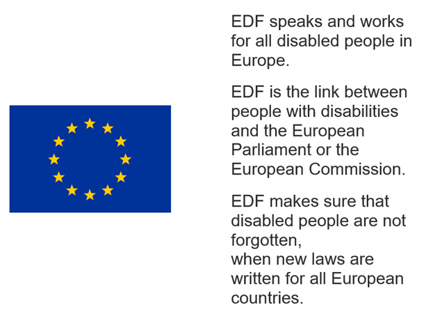 EDF speaks and works for all disabled people in Europe. EDF is the link between people with disabilities and the European Parliament or the European Commission. EDF makes sure that disabled people are not forgotten, when new laws are written for all European countries.