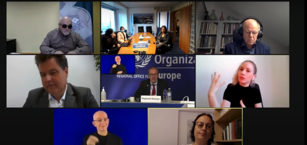 screenshot from the online event showing the speakers and interpreters